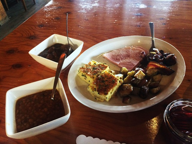Ragout of meatballs and pigs' feet, ham, pork jowls, potatoes, omelette, and fèves au lard - MOLLY ZAPP