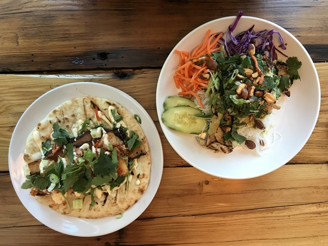 Pork belly on pita (left) and Thai grilled chicken - SALLY POLLAK