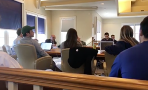 Students listen to Legutko - SCREENSHOT OF THE MIDDLEBURY CAMPUS VIDEO
