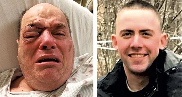 Douglas Kilburn (left) Officer Cory Campbell - COURTESY OF LISA WEBBER | BURLINGTON POLICE DEPARTMENT