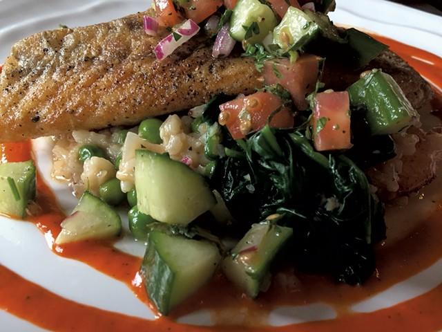Pan-seared sea bass at Sage Restaurant - SASHA GOLDSTEIN