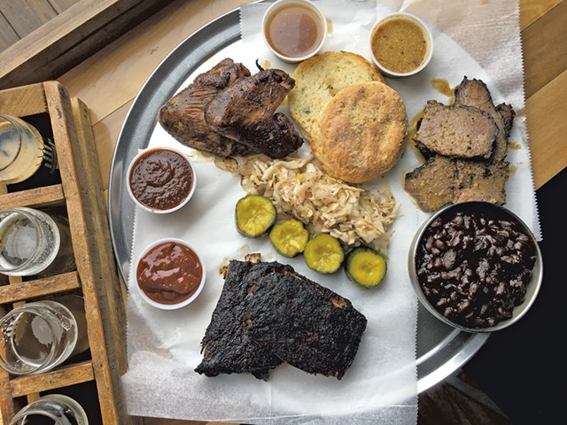 Barbecue platter and beer flight at Hired Hand Brewing - MELISSA PASANEN