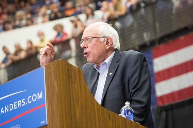 Sen. Bernie Sanders speaking in Madison, Wis., earlier this month. - FILE: ERIC TADSEN