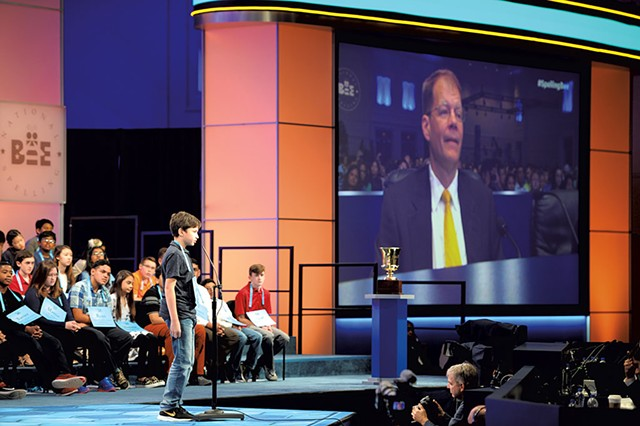 Jacques Bailly on the big screen at the 2018 Scripps National Spelling Bee - COURTESY OF MARK BOWEN/SCRIPPS NATIONAL SPELLING BEE