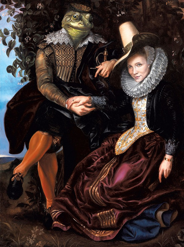 """""""The Frog Prince,"""" after Rubens' """"Honeysuckle Bower,"""" featuring a cameo by Runde - COURTESY OF KATIE RUNDE"""