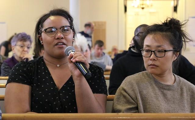 Activists speak at the First Unitarian Universalist Society Meeting House - COURTNEY LAMDIN