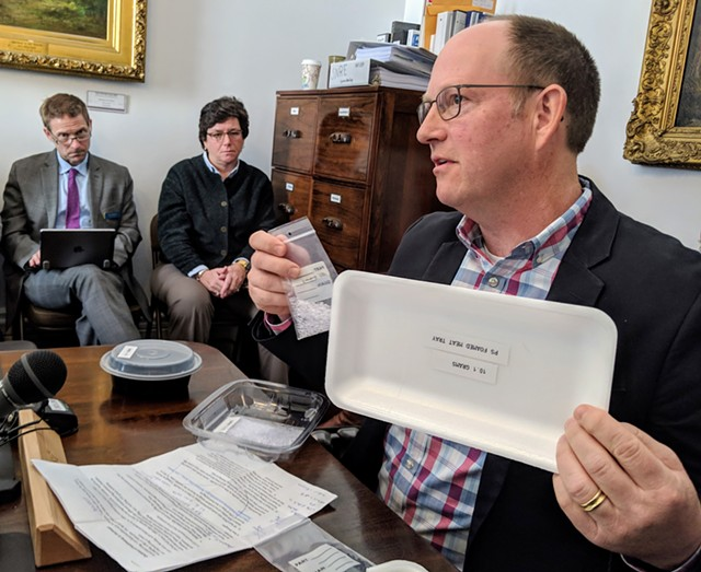 Brad Braddon, general manager of technology for Tekni-Plex, which manufactures plastic containers, presented sample products to lawmakers. - FILE: TAYLOR DOBBS