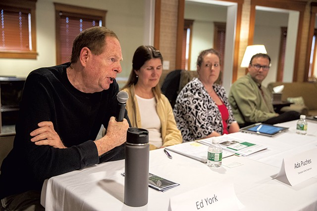 From left: Panelists Ed York, Ada Puches, Lindsey Wells and Paul Jerard - JAMES BUCK