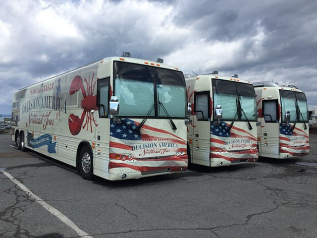 Franklin Graham's tour buses at Perkins Pier on Monday - SASHA GOLDSTEIN