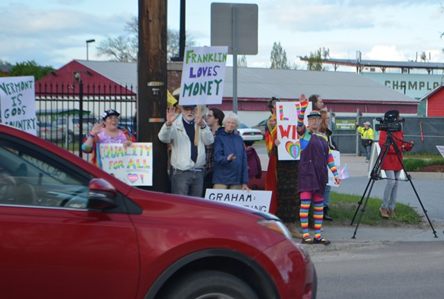 Protesters outside Champlain Valley Expo - DEREK BROUWER