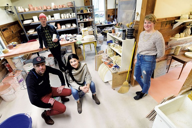 From left: Ben and Jeremy Ayers, Lisa Conlon and Georgia Ayers in the pottery studio - JEB WALLACE-BRODEUR