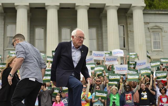 Sen. Bernie Sanders preparing to speak - STEFAN HARD