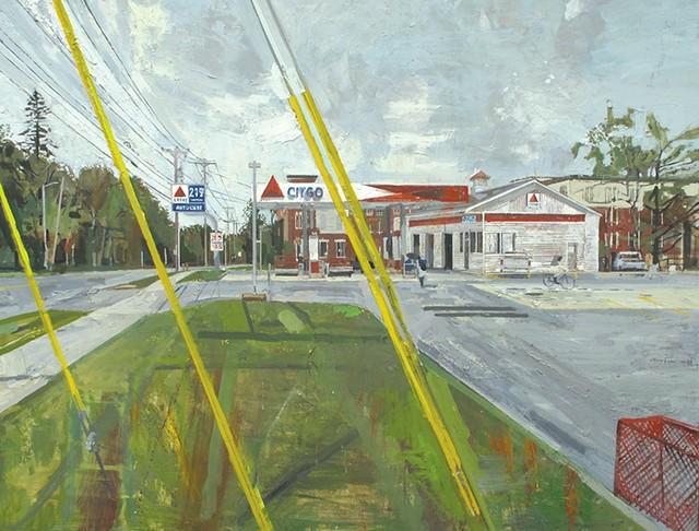 Peter Fried painting of Kaigle's Citgo