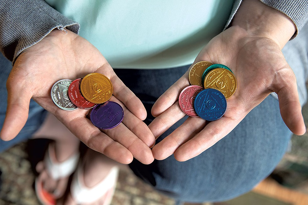Sierra LaCoste's collection of sobriety anniversary coins - JAMES BUCK