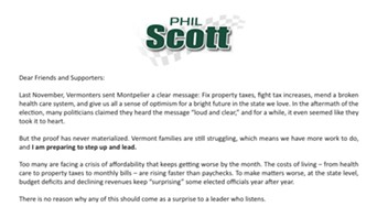 A fundraising appeal from Lt. Gov. Phil Scott