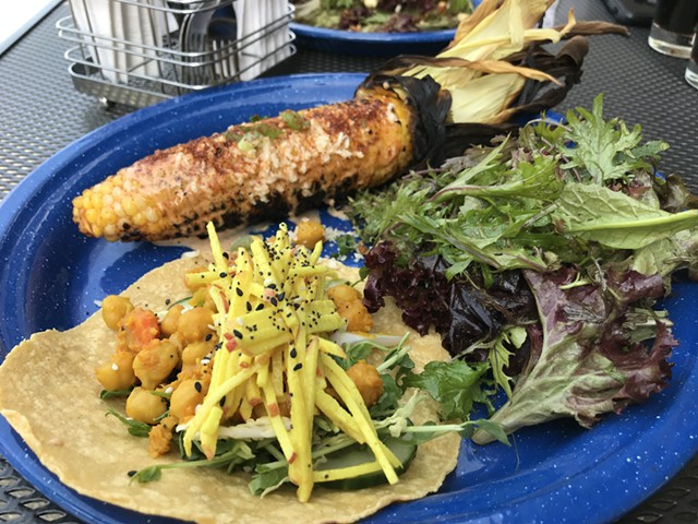 Grilled corn and a chickpea taco at Stone Corral Brewery - SALLY POLLAK
