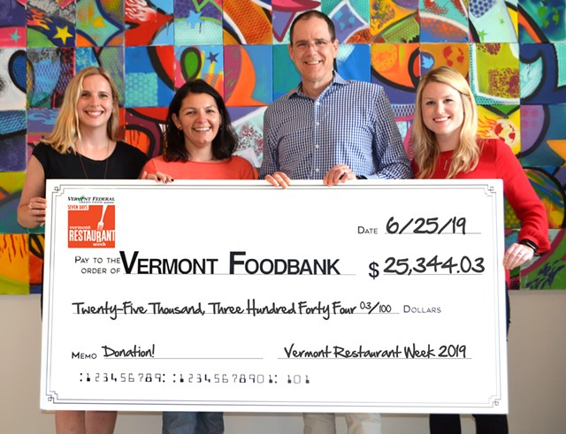 Left to right: Corey Grenier (Seven Days), Mae Quilty (City Market), John Sayles (Vermont Foodbank), Kylie Perry (Vermont Federal Credit Union)