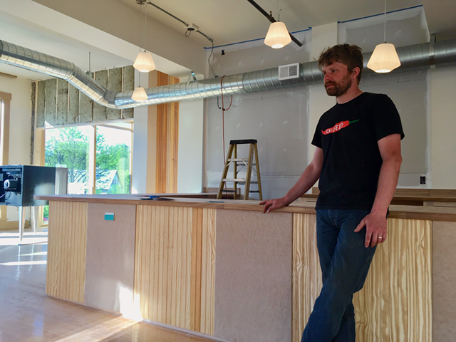 Tobin Myers Porter at Front Seat Coffee during renovation - COURTESY OF FRONT SEAT COFFEE