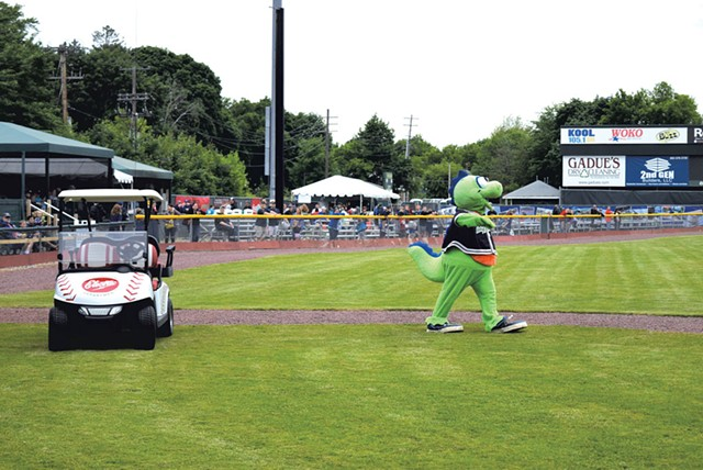 """Champ and his new ride - COURTESY OF THE VERMONT LAKE MONSTERS"""""""