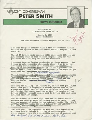 Peter Smith's prepared remarks for a March 3, 1989 speech announcing his support for an assault weapons ban - VERMONT HISTORICAL SOCIETY
