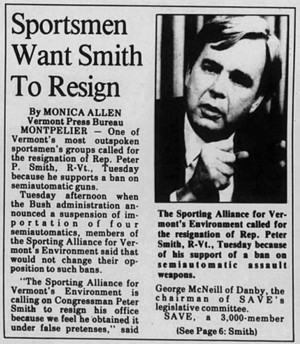 A March 15, 1989, account of the backlash Smith faced after supporting an assault weapons ban - RUTLAND HERALD
