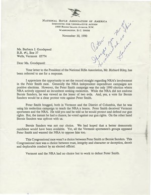 A November 30, 1990, letter from NRA lobbyist Mary Kaaren Jolly explaining the organization's support for Sanders - VERMONT HISTORICAL SOCIETY
