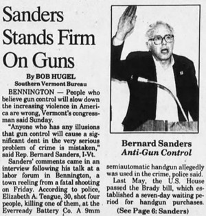 An October 28, 1991, account of Bernie Sanders' visit to Bennington following a shooting at the Eveready Battery plant - RUTLAND HERALD