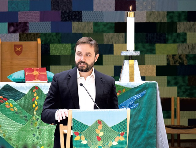 Bram Kranichfield delivering a sermon at the Cathedral Church of St. Paul - COURTESY OF GREG MERHAR