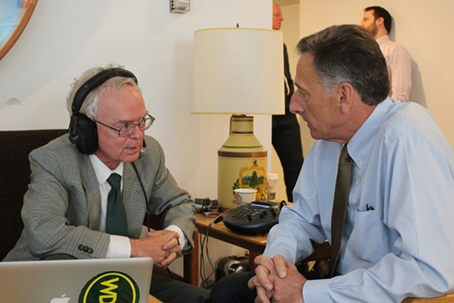 Mark Johnson interviews Gov. Peter Shumlin at the Statehouse in May. - FILE: PAUL HEINTZ