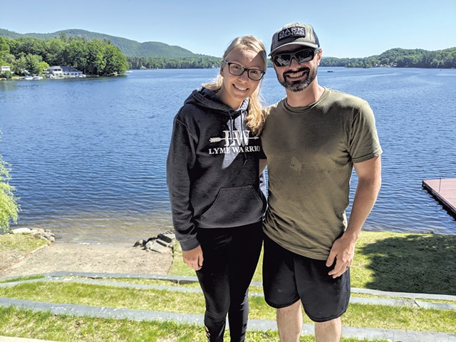 Adam and Bri Valastro outside their home on the shores of Lake George - COURTESY OF TAYLOR DOBBS