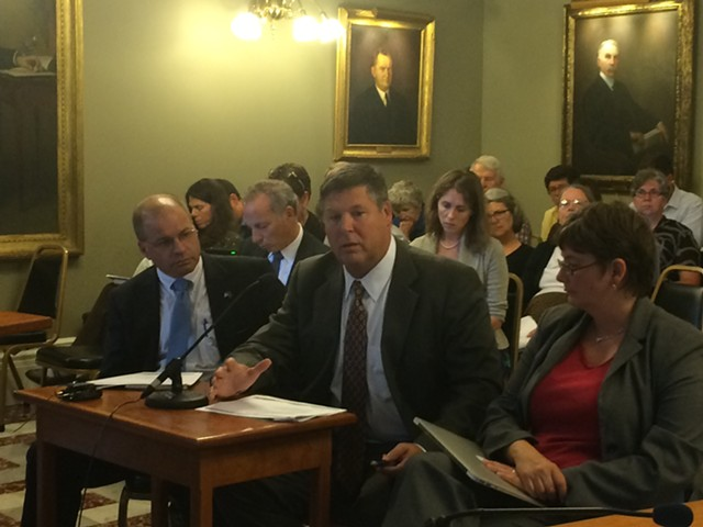 Al Gobeille (center), chairman of the Green Mountain Care Board, briefing a health oversight committee - NANCY REMSEN