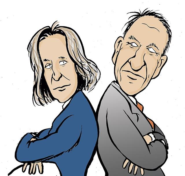 Rebecca Holcombe and Gov. Phil Scott - FILE: TIM NEWCOMB