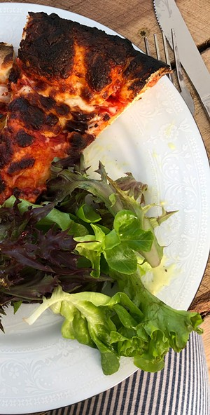 Pizza and greens from Savage Gardens - JORDAN BARRY