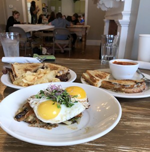 From left: Bacon, cheddar, maple-and-bourbon onion jam sandwich; veggie hash special; grilled cheese and tomato-basil soup - JORDAN BARRY