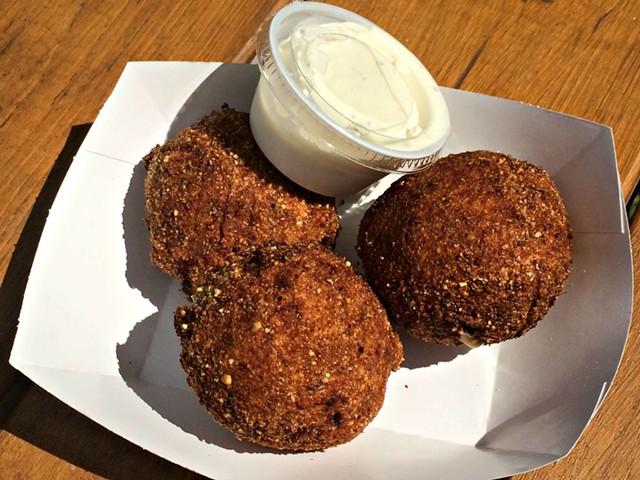 Three mac-n-cheese balls, $3 - ALICE LEVITT