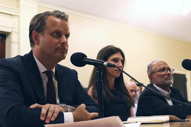 Aanen Olsen, left, and other representatives from Brookfield Asset Management - COURTNEY LAMDIN
