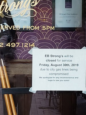 Sign at E.B. Strong's  Prime Steakhouse - CAROLYN SHAPIRO