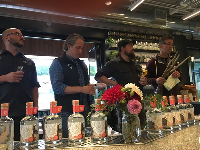 From left: Sam Nelis, Ryan Christiansen and Josh Pitts of Caledonia Spirits and Richard Wiswall of Cate Farm. - MELISSA PASANEN