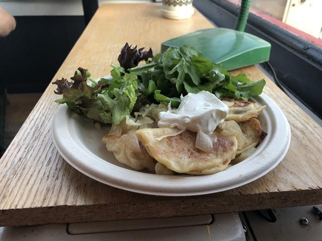 Pierogi plate with salad at the Syp Brand Pierogi pop-up - JORDAN BARRY
