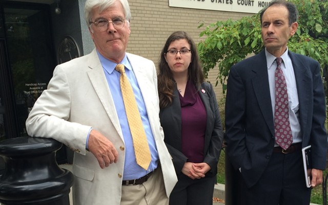 From left, Attorney John Franco, Vermont Progessive Party executive director Kelly Mangan and former lieutenant governor candidate Dean Corren outside U.S. District Court in Burlington - MARK DAVIS