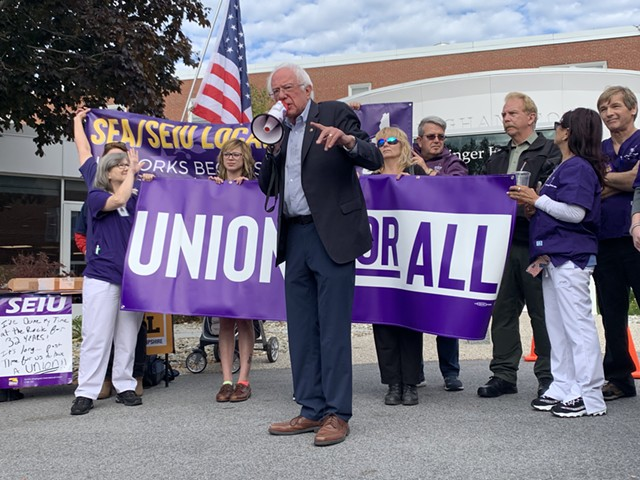 Sen. Bernie Sanders campaigns Monday in New Hampshire. - PAUL HEINTZ