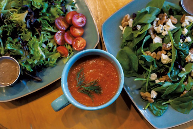 Salads and a mug of tomato, roasted pepper and garlic soup at Fork & Gavel - GLENN RUSSELL