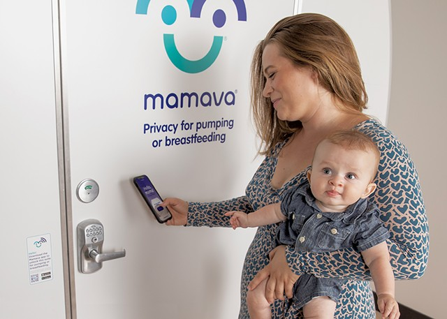 """A mom going into a Mamava lactation """"pod"""" - COURTESY OF MAMAVA"""