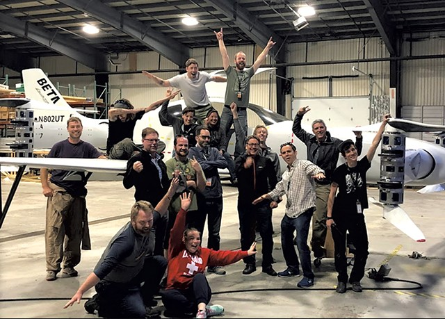 Beta Technologies' crew with the prototype electric vertical takeoff and landing vehicle - COURTESY OF BETA TECHNOLOGIES