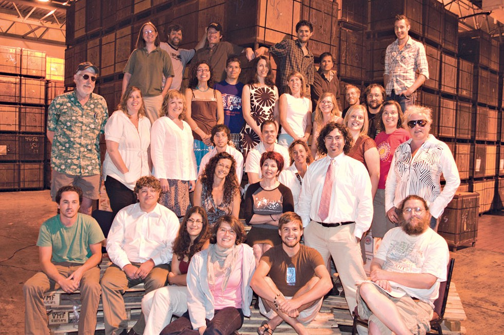 BOTTOM ROW: Suzanne Podhaizer, Meghan Dewald, Don Eggert, Marc Awodey. - SECOND ROW: Patrick Ripley, David White, Paula Routly, Pamela Polston, Colby Roberts, Diane Sullivan. - THIRD ROW: Peter Freyne, Robyn Birgisson, Elisabeth Crean, Ryan Hayes, Andrew Sawtell, Krystal Woodward, Allison Davis, Judy Beaulac. - FOURTH ROW: Cathy Resmer, Eva Sollberger, Bob Kilpatrick, Margot Harrison, Michelle Brown, Bridget Burns, Dan Bolles, Joe Hudak. - TOP ROW: Rick Woods, Jonathan Bruce, Mike Ives, Steve Hadeka, Glen Nadeau. - NOT PICTURED: Matthew Thorsen (he's taking the photo), Ken Picard, Michael Bradshaw, Joanna May, Amy Lilly, Rick Kisonak, Jernigan Pontiac, Sarah Tuff and other fab freelancers. - PHOTO: Matthew Thorsen.
