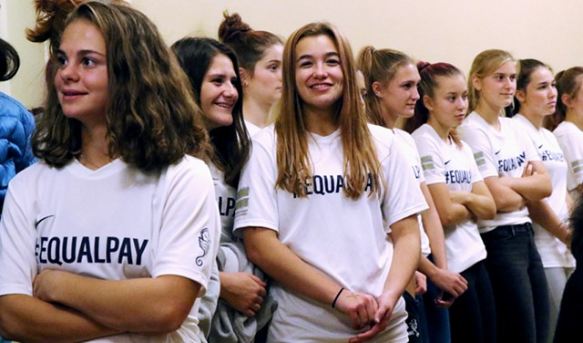 The BHS girls soccer team at Monday's meeting - COURTNEY LAMDIN