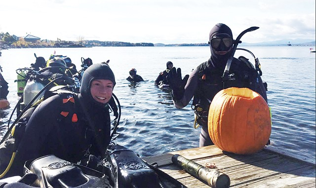 Sarah Bangs and Padric Hartnett competing in the carving contest - COURTESY OF PHILLIP PETERSON