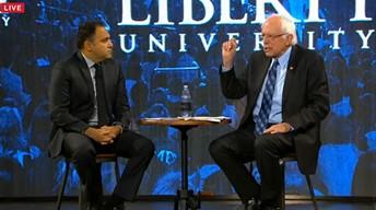 Liberty University vice president David Nasser quizzes Sen. Bernie Sanders. - SCREENSHOT FROM WSET-TV LIVESTREAM