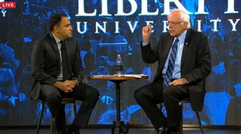 Liberty University vice president David Nasser quizzes Sen. Bernie Sanders. - SCREENSHOT FROM WSET-TV LIVESTREAM