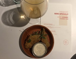 Fable Farm's Amida paired with Nordic Farm fried pickles - JORDAN BARRY